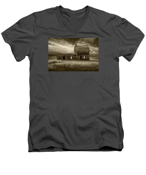 Sepia Tone Of Abandoned Prairie Farm House Men's V-Neck T-Shirt
