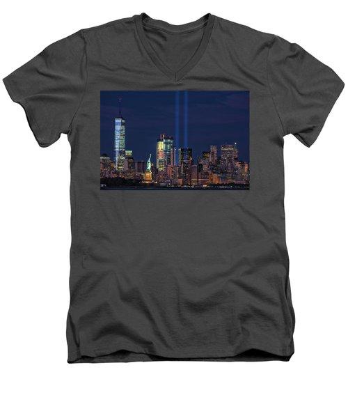 Men's V-Neck T-Shirt featuring the photograph September 11tribute In Light by Emmanuel Panagiotakis