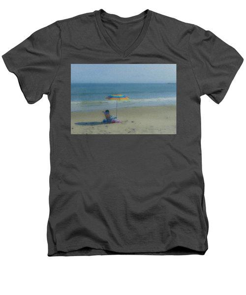 September Beach Reader Men's V-Neck T-Shirt