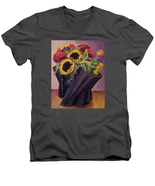 Men's V-Neck T-Shirt featuring the painting September Cincher by Laura Aceto
