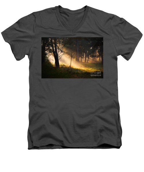 Men's V-Neck T-Shirt featuring the painting September Impressions by Rosario Piazza