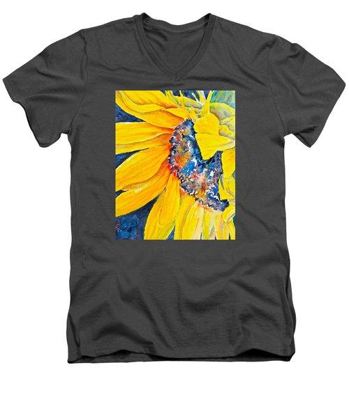 Men's V-Neck T-Shirt featuring the painting September Sunflower by Carolyn Rosenberger