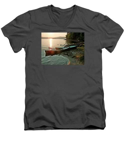 September Sunrise On Flagstaff Men's V-Neck T-Shirt by Joy Nichols