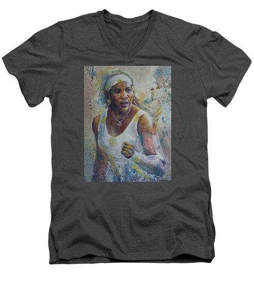 Serena Williams - Portrait 5 Men's V-Neck T-Shirt by Baresh Kebar - Kibar