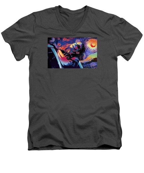 Serene Starry Night Men's V-Neck T-Shirt by Surj LA