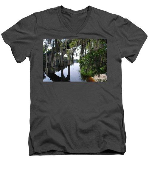 Serene River Men's V-Neck T-Shirt by Gordon Mooneyhan