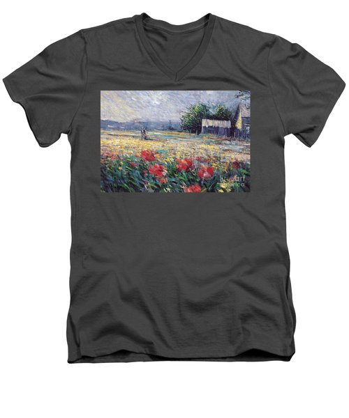 Men's V-Neck T-Shirt featuring the painting Serenety by Rosario Piazza