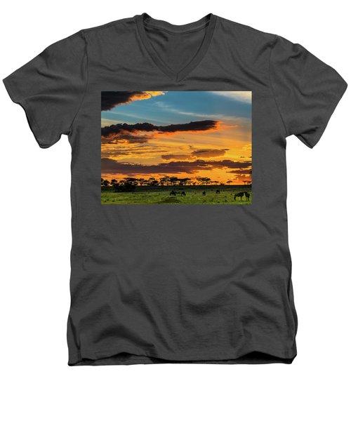 Serengeti Sunset Men's V-Neck T-Shirt