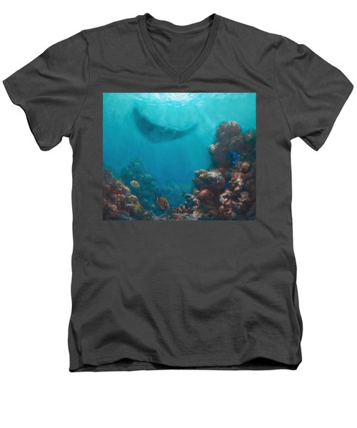Serenity - Hawaiian Underwater Reef And Manta Ray Men's V-Neck T-Shirt