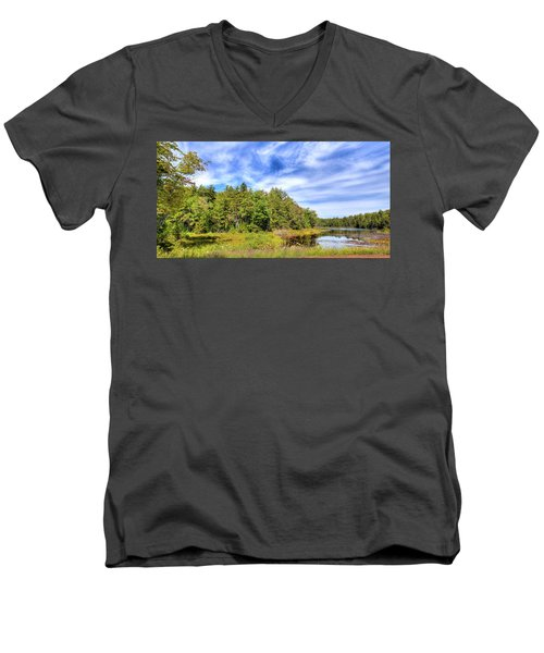 Men's V-Neck T-Shirt featuring the photograph Serenity On Bald Mountain Pond by David Patterson