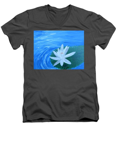 Serenity White Water Lily Men's V-Neck T-Shirt