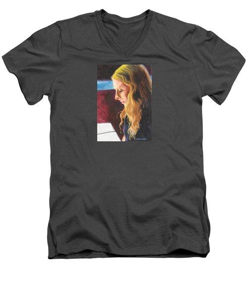 Serious Contemplation Of A Menu Men's V-Neck T-Shirt by Connie Schaertl