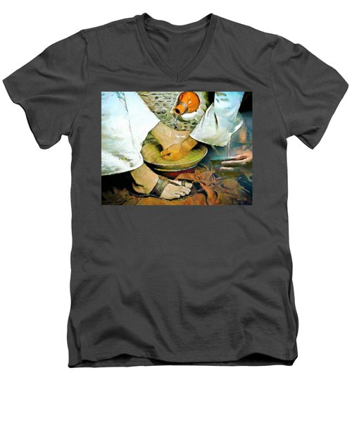 Serving One Another Men's V-Neck T-Shirt by Wayne Pascall