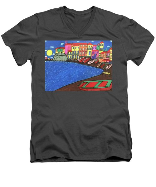 Sestri Levante Italy Men's V-Neck T-Shirt by Jonathon Hansen