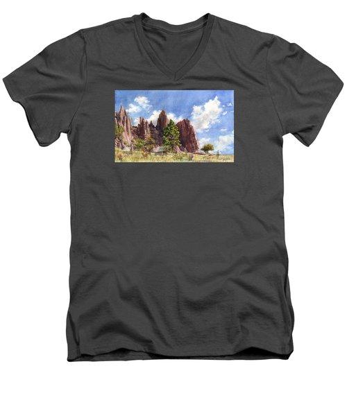 Settler's Park, Boulder, Colorado Men's V-Neck T-Shirt by Anne Gifford