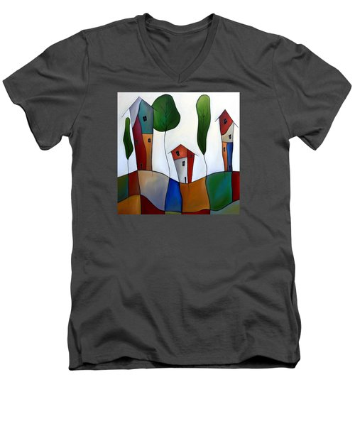 Settling Down Men's V-Neck T-Shirt by Tom Fedro - Fidostudio