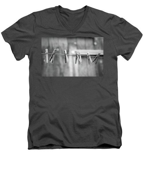 Seven Clothes Pins Men's V-Neck T-Shirt by Marius Sipa