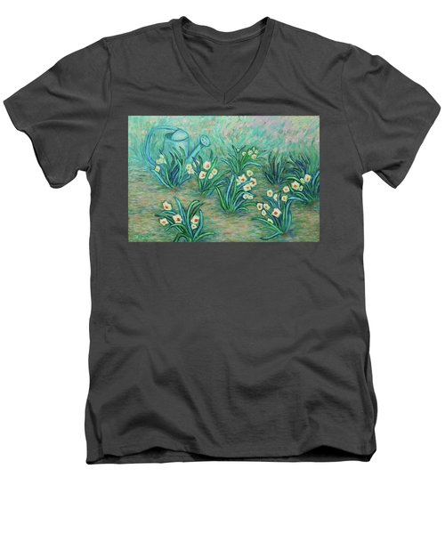 Men's V-Neck T-Shirt featuring the painting Seven Daffodils by Xueling Zou
