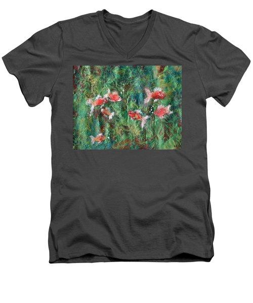 Seven Little Fishies Men's V-Neck T-Shirt by Maria Watt