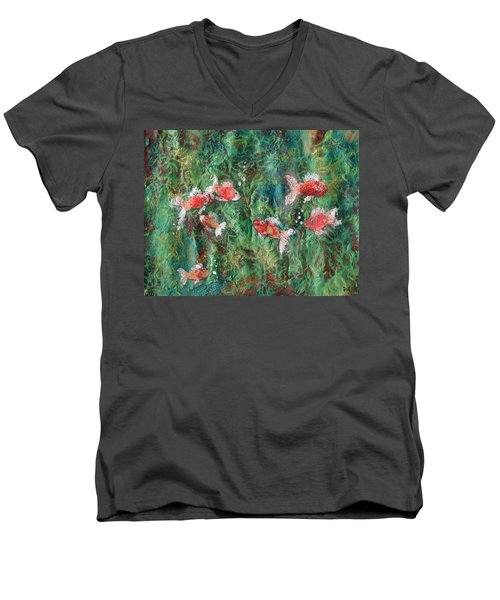 Seven Little Fishies Men's V-Neck T-Shirt