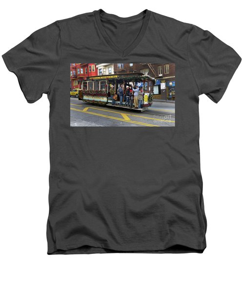 Sf Cable Car Powell And Mason Sts Men's V-Neck T-Shirt by Steven Spak