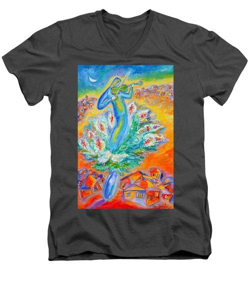 Shabbat Shalom Men's V-Neck T-Shirt by Leon Zernitsky