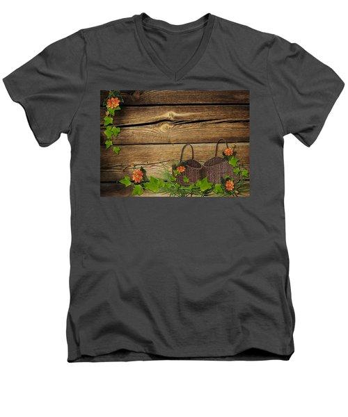 Shabby Chic Flowers In Rustic Basket Men's V-Neck T-Shirt