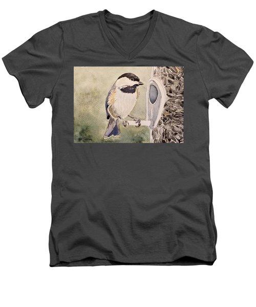 Shades Of Black Capped Chickadee Men's V-Neck T-Shirt