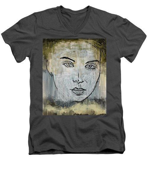 Shades Of Grey And Beige Men's V-Neck T-Shirt