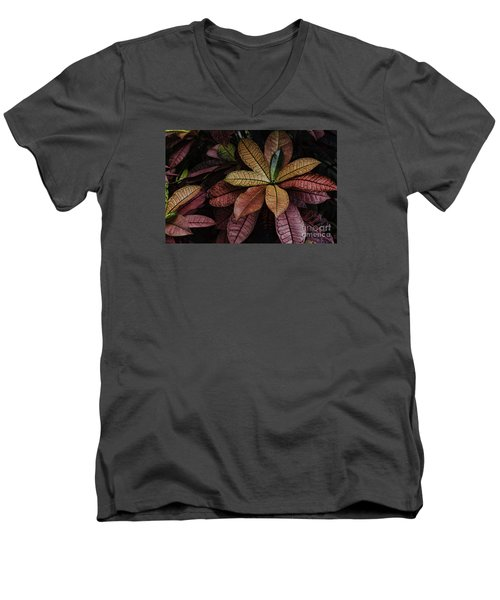Men's V-Neck T-Shirt featuring the photograph Shades Of Red by Judy Wolinsky