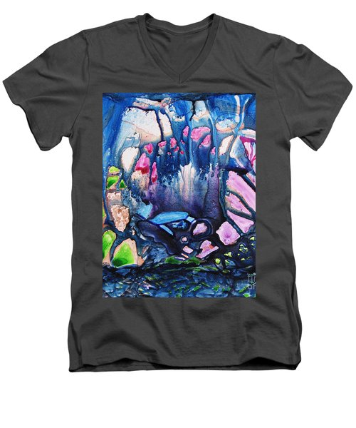 Men's V-Neck T-Shirt featuring the painting Shades Of Tiffany by Joan Hartenstein