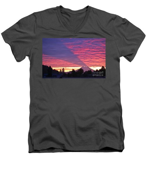 Men's V-Neck T-Shirt featuring the photograph Shadow Of Mount Rainier by Sean Griffin