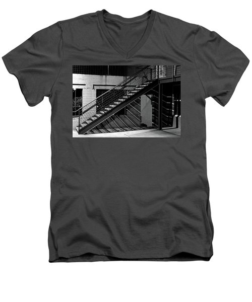 Shadow Of Stairs In Mono Men's V-Neck T-Shirt by Christopher McKenzie