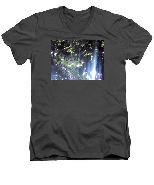 Men's V-Neck T-Shirt featuring the photograph Shadow Threads by Megan Dirsa-DuBois