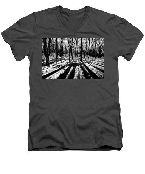 Shadows On The Snowy Landscape Men's V-Neck T-Shirt
