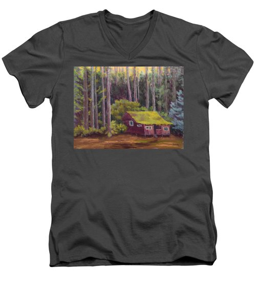 Men's V-Neck T-Shirt featuring the painting Shady Grove by Nancy Jolley