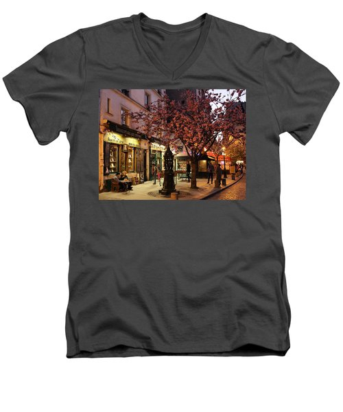 Men's V-Neck T-Shirt featuring the photograph Shakespeare Book Shop 2 by Andrew Fare