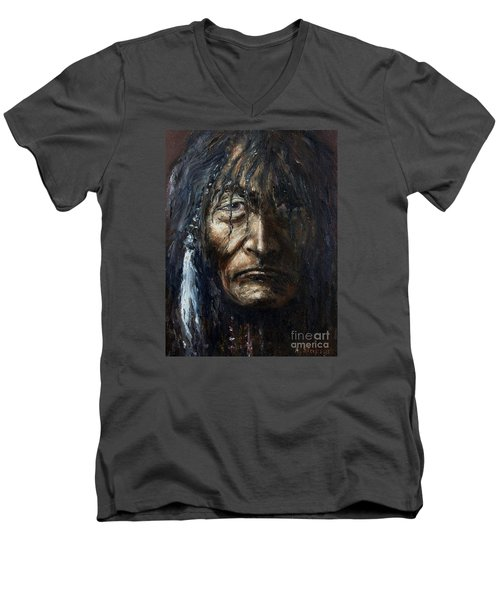 Men's V-Neck T-Shirt featuring the painting Shaman by Arturas Slapsys