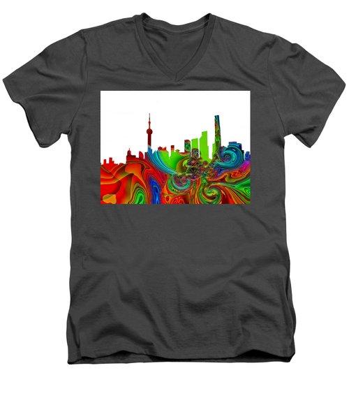 Shanghai  Men's V-Neck T-Shirt by Thomas M Pikolin