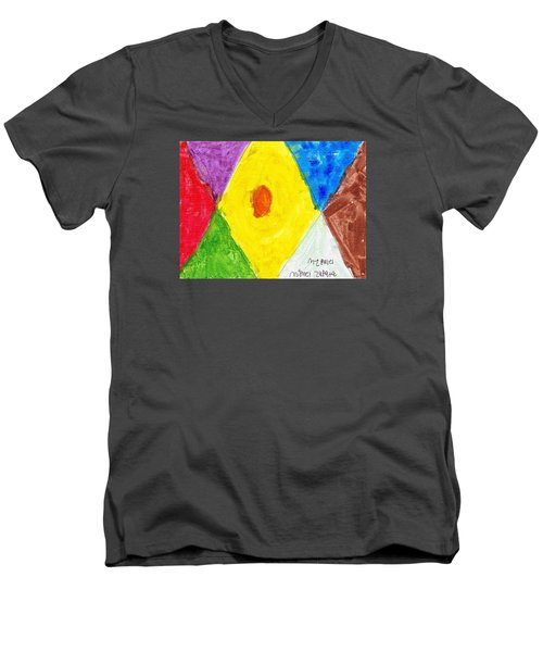 Men's V-Neck T-Shirt featuring the painting Shapes by Artists With Autism Inc