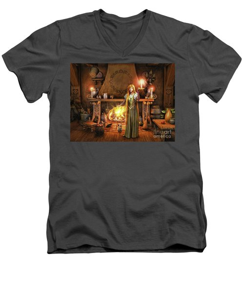 Men's V-Neck T-Shirt featuring the painting Share My Fire And Candle Light by Dave Luebbert