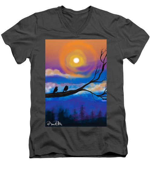 Men's V-Neck T-Shirt featuring the digital art Sharing The Sunset-2 by Diana Riukas
