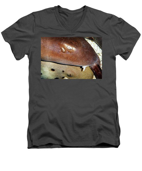 Men's V-Neck T-Shirt featuring the photograph Sharks by Anthony Jones