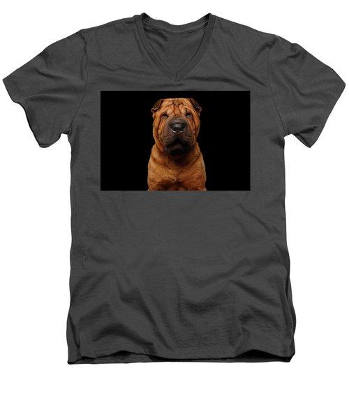 Sharpei Dog Isolated On Black Background Men's V-Neck T-Shirt