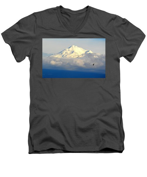 Shasta Near Sunset Men's V-Neck T-Shirt