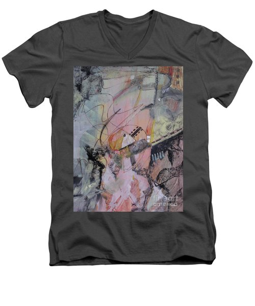 Men's V-Neck T-Shirt featuring the mixed media She Got Lost On Purpose by Robin Maria Pedrero