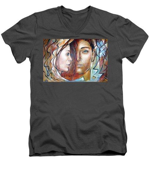 She Loves Me 140709 Men's V-Neck T-Shirt by Selena Boron
