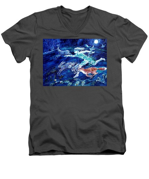 She Ran With The Hunted  Men's V-Neck T-Shirt by Trudi Doyle