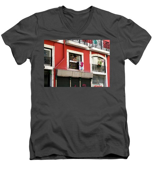 Men's V-Neck T-Shirt featuring the photograph She Takes A Break by Lorraine Devon Wilke