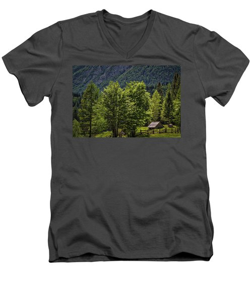 Men's V-Neck T-Shirt featuring the photograph Shed In The Slovenian Alps by Stuart Litoff